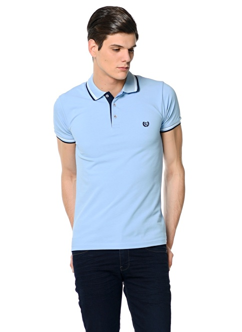 Adze Polo Yaka Tişört Mavi